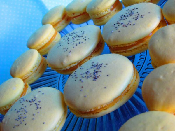 Lemon poppy seeds macarons