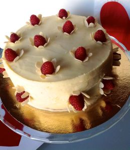 Raspberry and white chocolate cake