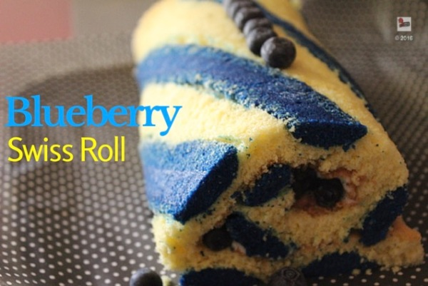Blueberry swiss roll